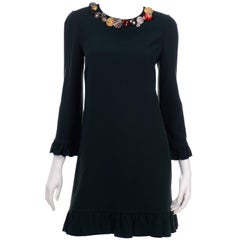 Dolce & Gabbana Green Ruffled Dress With Decorative Button Trim