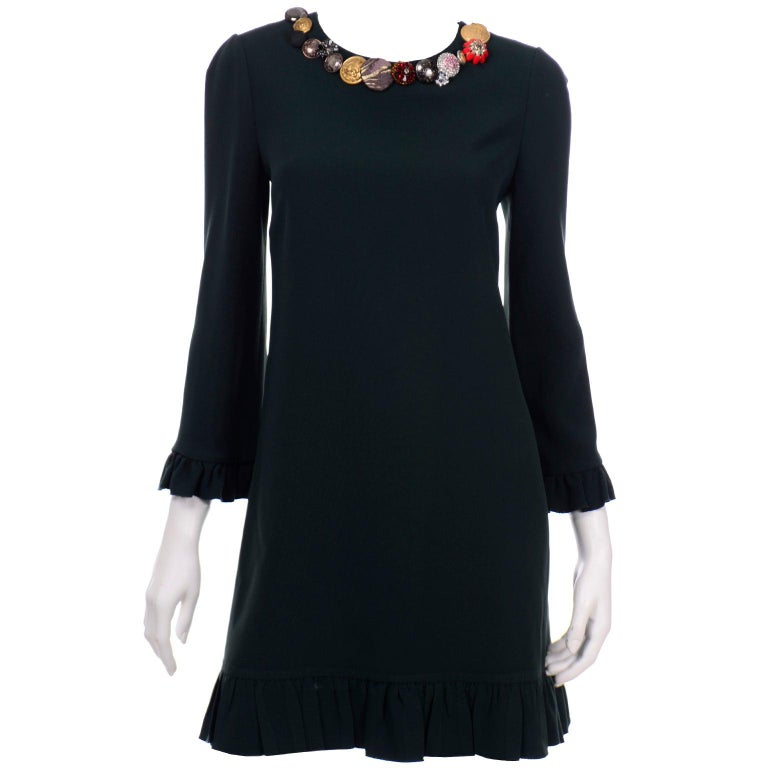 Dolce & Gabbana Green Ruffled Dress With Decorative Button Trim For Sale