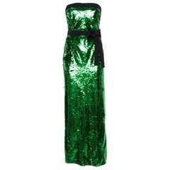 Dolce & Gabbana Green Sequined Strapless Maxi Dress M