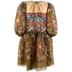 Dolce & Gabbana Green Silk Printed Paisley Puff Sleeve Mini Dress XS
