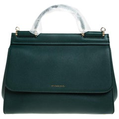 Dolce & Gabbana Green Smooth Leather Miss Sicily Top Handle Bag