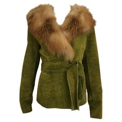 Dolce & Gabbana Green Soft Suede Fox Collar Shearling Jacket