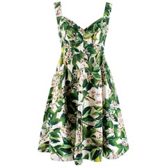Dolce & Gabbana Green & White Floral Print Fit & Flare Dress - Size Medium