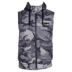 Dolce & Gabbana Grey Camo Print Quilted Vest M
