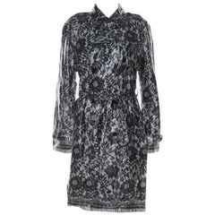 Dolce & Gabbana Grey Coated Silk Floral Lace Pattern Raincoat M