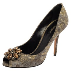 Dolce & Gabbana Grey Floral Print Brocade Fabric Bellucci Crystal Pumps Size 40