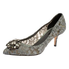 Dolce & Gabbana Grey Lace Bellucci Crystal Embellished Pointed Toe Pumps Size 40