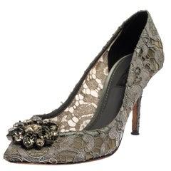 Dolce & Gabbana Grey Lace Bellucci Crystal Embellished Pumps Size 37.5