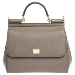 Dolce & Gabbana Grey Leather Miss Sicily Bag