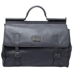 Dolce & Gabbana Grey Leather Sicily Travel Bag
