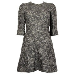 DOLCE & GABBANA grey & metallic silver JACQUARD Cocktail Dress 38