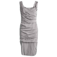 Dolce & Gabbana Grey Silk Ruched Sleeveless Dress M