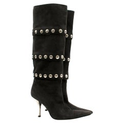 Dolce & Gabbana Grey Suede Studded Tall Boots 37