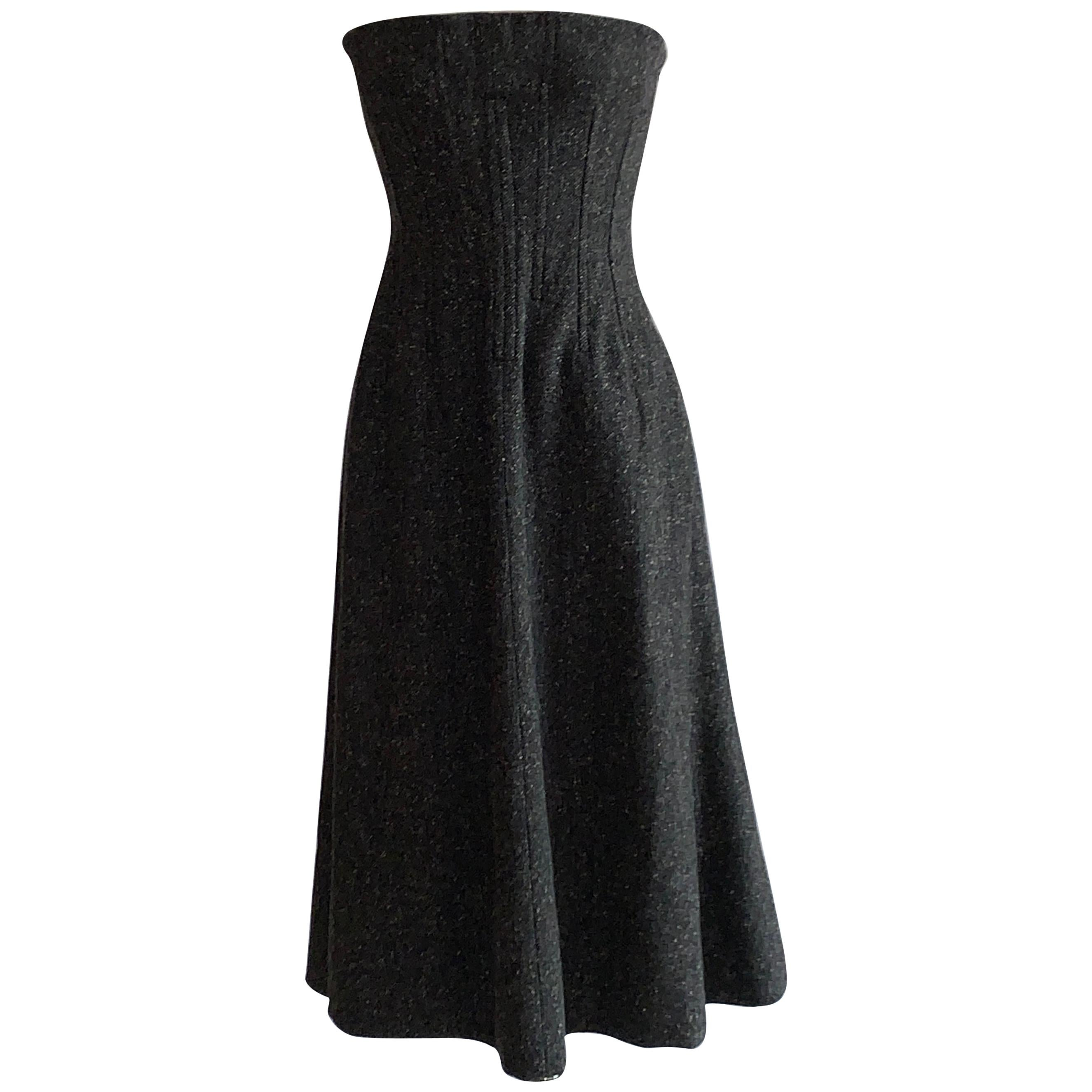 Dolce & Gabbana Grey Tweed Lace Up Corset Back Strapless Flared Dress