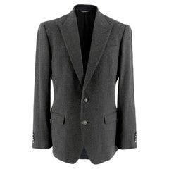 Dolce & Gabbana Grey Wool Sicilia Single Breasted Blazer M 48