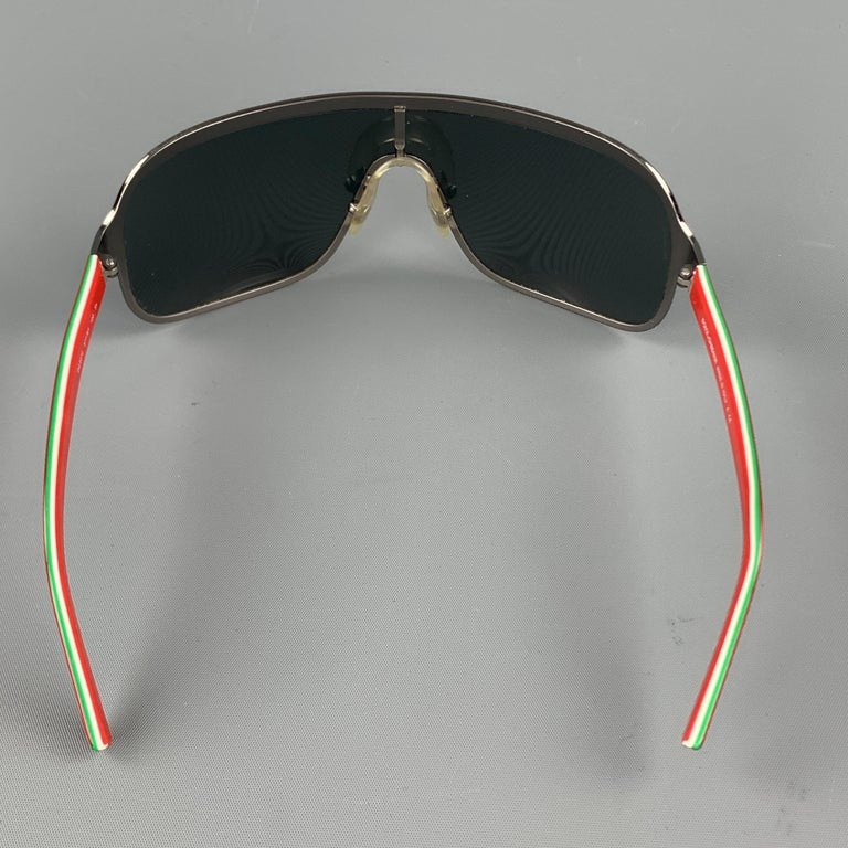 DOLCE & GABBANA Gunmetal Aviator Shield Red Arm Sunglasses In Excellent Condition For Sale In San Francisco, CA
