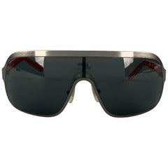 DOLCE & GABBANA Gunmetal Aviator Shield Red Arm Sunglasses