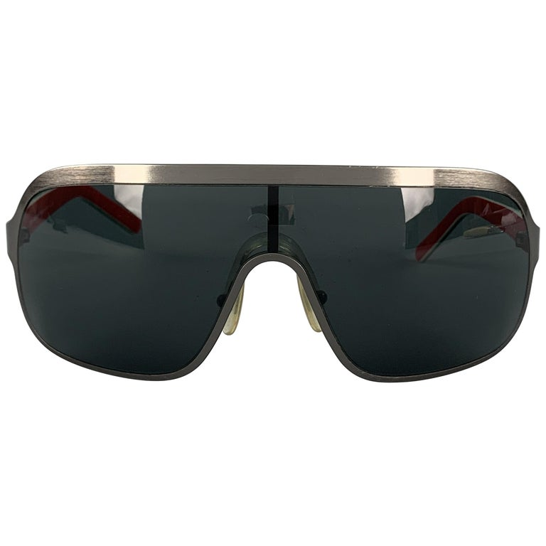 DOLCE & GABBANA Gunmetal Aviator Shield Red Arm Sunglasses For Sale