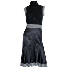 Dolce & Gabbana Gunmetal Tulle Silk Dress Stand Up Collar & Crystal Details