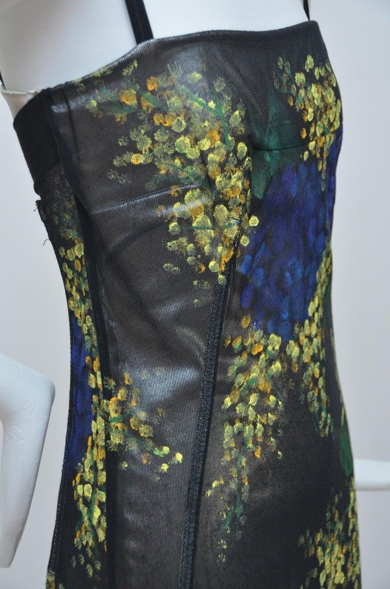 Dolce And Gabbana Hand Painted Mesh Evening Dress Autumn