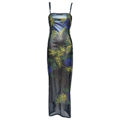 Dolce & Gabbana Hand Painted Mesh Evening Dress   Autumn-Winter 1998  Mint