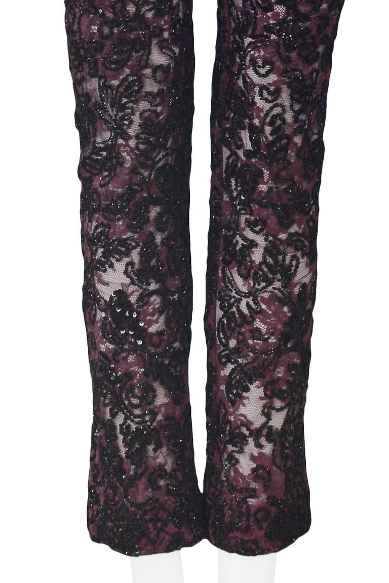 Black Dolce & Gabbana Heavily Beaded Lace Pants  For Sale