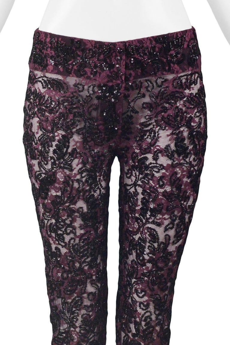Dolce & Gabbana Heavily Beaded Lace Pants  In Excellent Condition For Sale In Los Angeles, CA