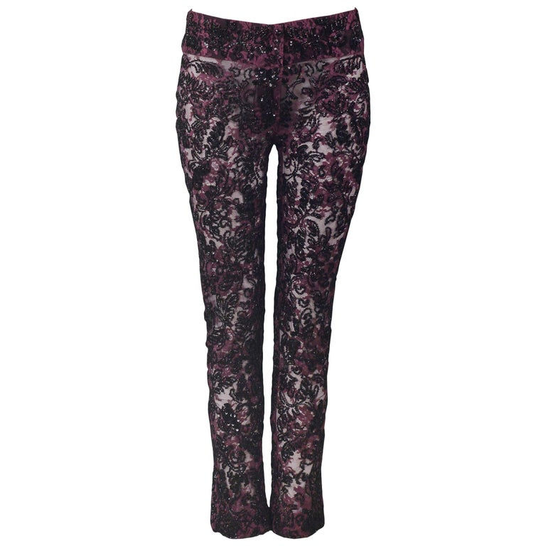 Dolce & Gabbana Heavily Beaded Lace Pants  For Sale