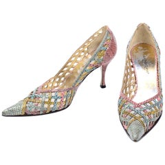 Dolce & Gabbana Heels Vintage Multi Color Woven Snakeskin Pointed Toe Shoes