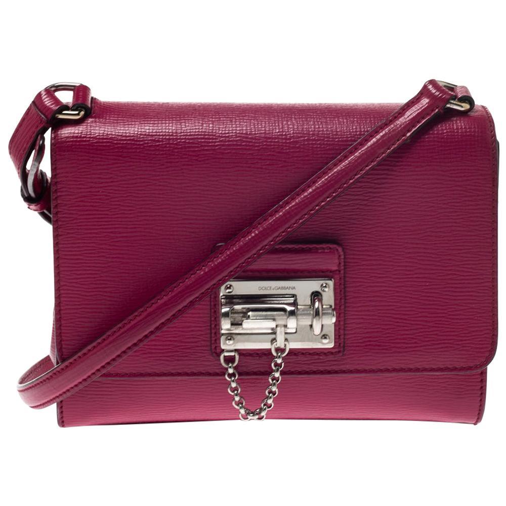 Dolce & Gabbana Hot Pink Leather Monica Shoulder Bag