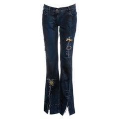 Dolce & Gabbana indigo denim graffiti punk jeans with safety pins, ss 2001