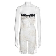 Dolce & Gabbana ivory lace slip dress with attached bra, fw 2001