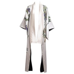 Dolce & Gabbana ivory silk hand-painted kimono dress coat, fw 1998