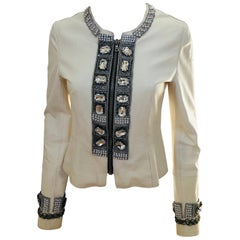 Dolce & Gabbana Jewel Embellished Fitted Short Off White Lambskin Evening Jacket
