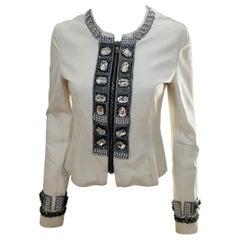 Dolce & Gabbana Jewel Embellished Fitted Short Off White Lambskin Evening Jacket