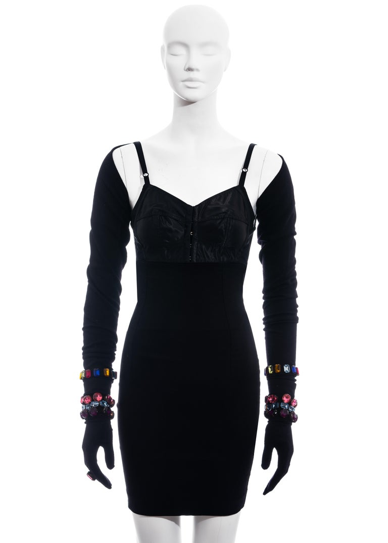 ▪ Dolce & Gabbana evening ensemble  ▪ Satin cropped corset top ▪ High waisted mini skirt  ▪ Shrug and gloves with jewell adornments  ▪ IT 40 - FR 36 - UK 8 - US 4 ▪ Fall-Winter 1991