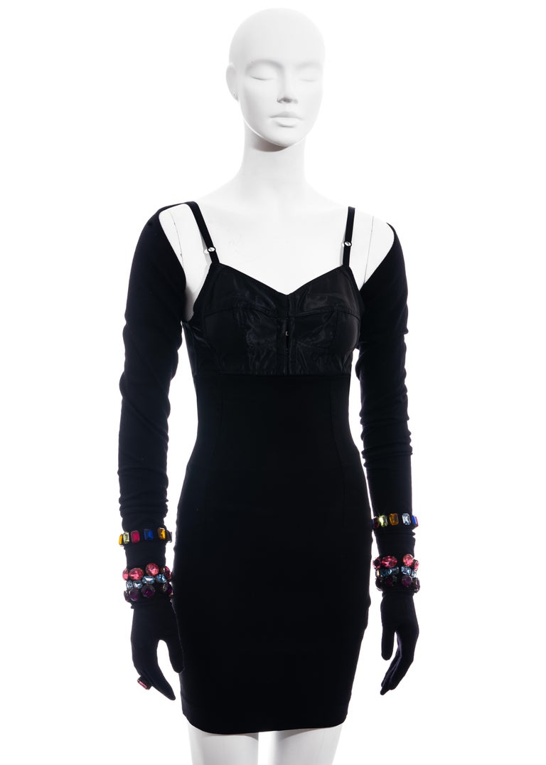 Dolce & Gabbana jewelled corset, mini skirt, shrug and gloves ensemble, fw 1991 In Excellent Condition For Sale In London, GB