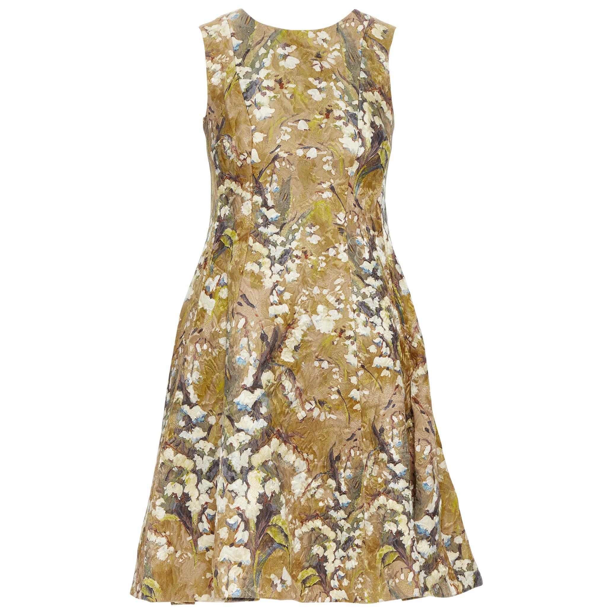 DOLCE GABBANA khaki floral blossom jewel button jacquard flared dress  IT36 XS