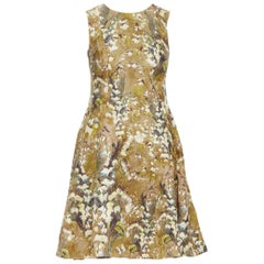DOLCE GABBANA khaki floral blossom jewel button jacquard flared dress  IT36 XS