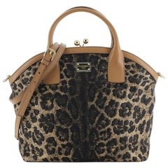 Dolce & Gabbana Kisslock Frame Satchel Leopard Print Jacquard Medium