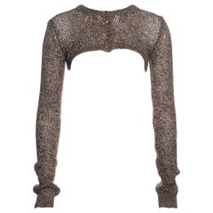 Dolce & Gabbana knitted oatmeal wool cropped long sleeve cardigan, ss 1999