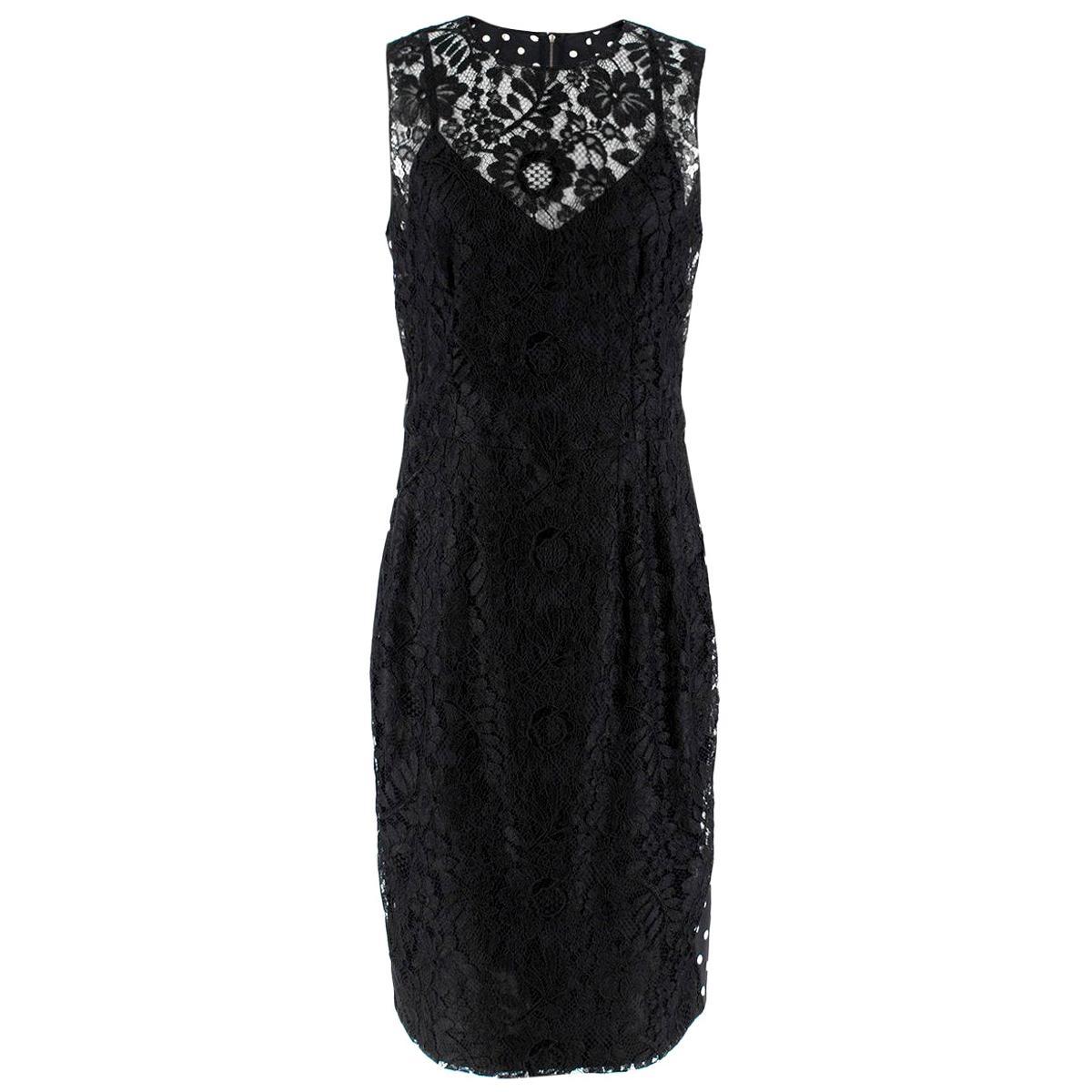 Dolce & Gabbana lace-panel polka-dot print dress US 10