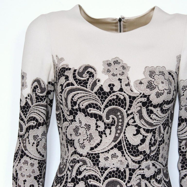 Gray Dolce & Gabbana Lace Printed Dress IT38 For Sale