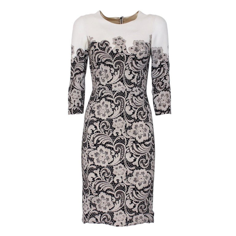 Dolce & Gabbana Lace Printed Dress IT38 For Sale