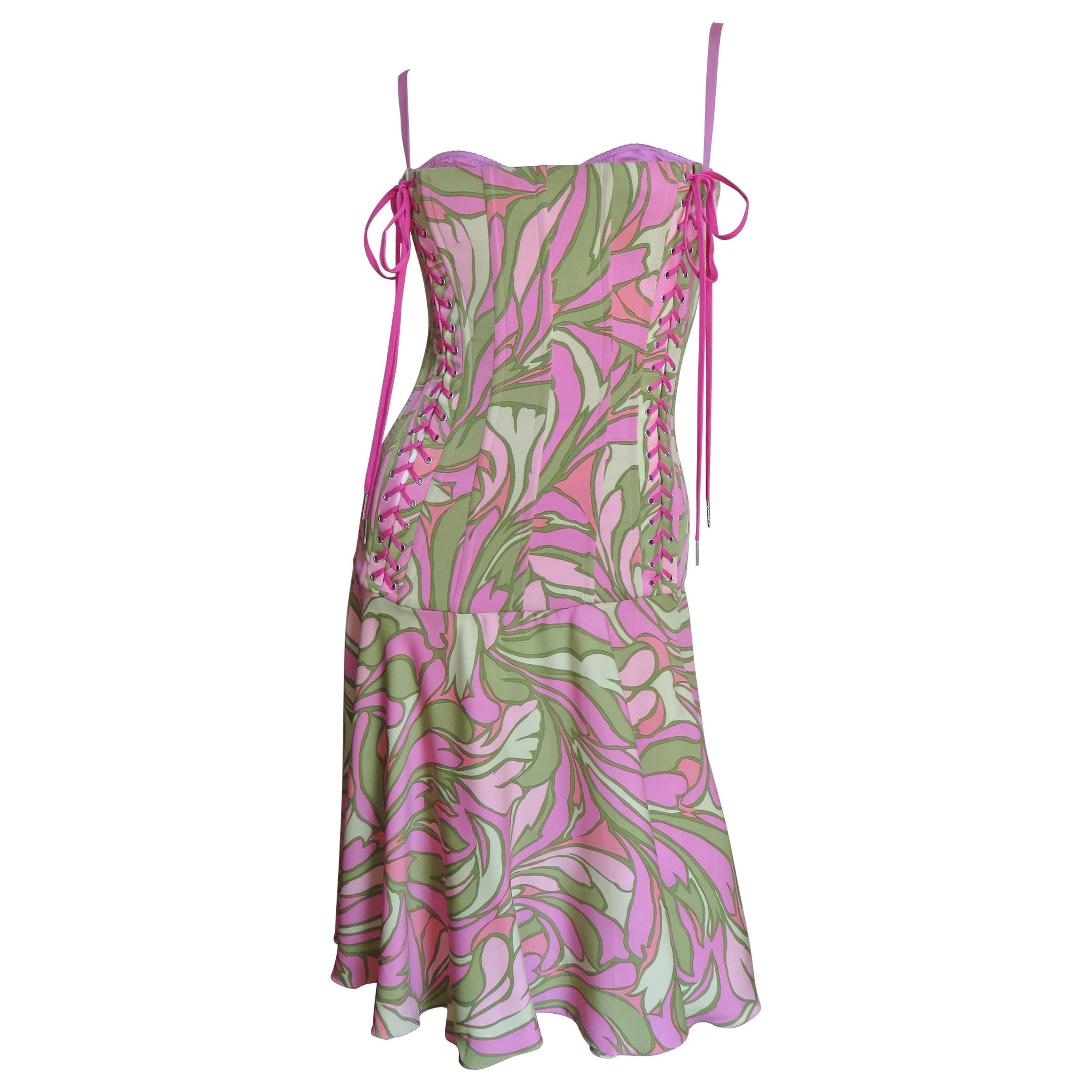 Dolce & Gabbana Lace up Silk Dress