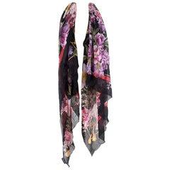 Dolce & Gabbana Large Sheer Silk Floral Print Wrap Scarf Large