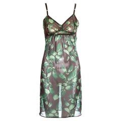Dolce & Gabbana leaf printed silk chiffon slip dress, ss 1997