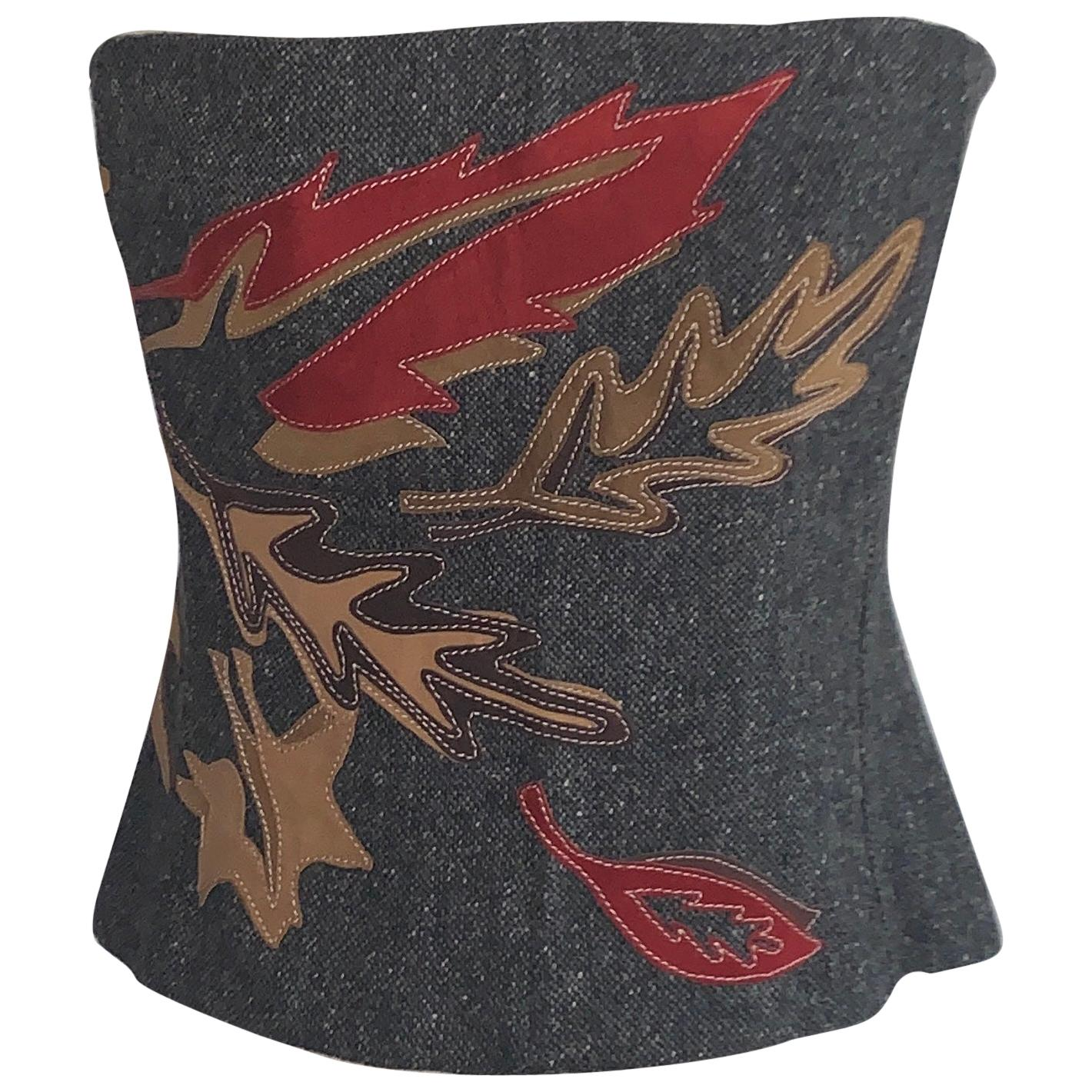 Dolce & Gabbana Leather Accent Leaf Corset Bustier in Grey Tweed
