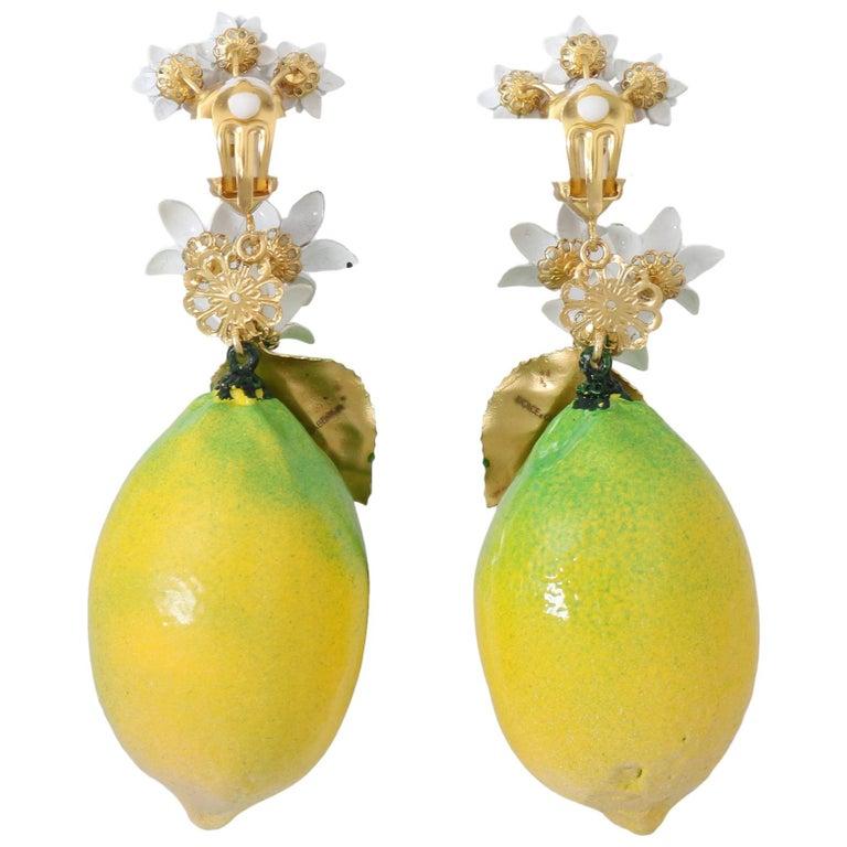 Dolce & Gabbana LEMON Clip On Earrings For Sale