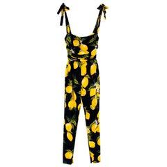 Dolce & Gabbana Lemon-Print Charmeuse Jumpsuit XXS 36
